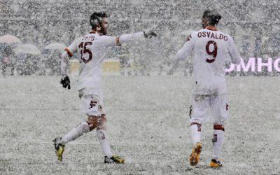 Atalanta e Roma si battono sotto una fitta nevicata. Marquinho, Pjanic e Torosidis siglano le reti della vittoria giallorossa. Dopo la Juve arriva un pò di continuità