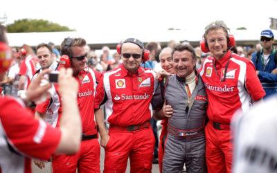 René Arnoux guida la passerella in mostra alla Ferrari F1
