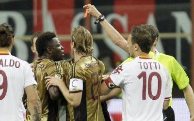 A San Siro tra Milan e AS Roma finisce 0 a 0. Espulsi Muntari nel primo tempo e Francesco Totti nel finale. Sospesa la partita per due minuti per dei cori razzisti rivolti a Mario Balotelli