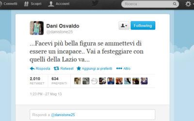 """AS ROMA – Scoppia la bufera. Osvaldo sul suo profilo Twitter esce allo scoperto…. """"incapace… vai a festeggiare con la Lazio"""". E' riferito ad Andreazzoli?"""