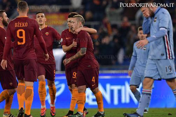 AS ROMA COPPA ITALIA – Poker alla Samp e avanti ai quarti
